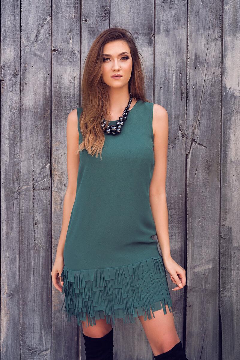 suknia frędzle I zielona