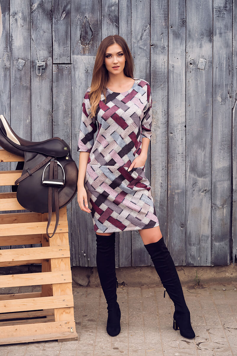 suknia zamki kratka bordowa