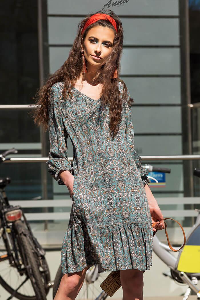 Suknia Dana- wzór, zielona
