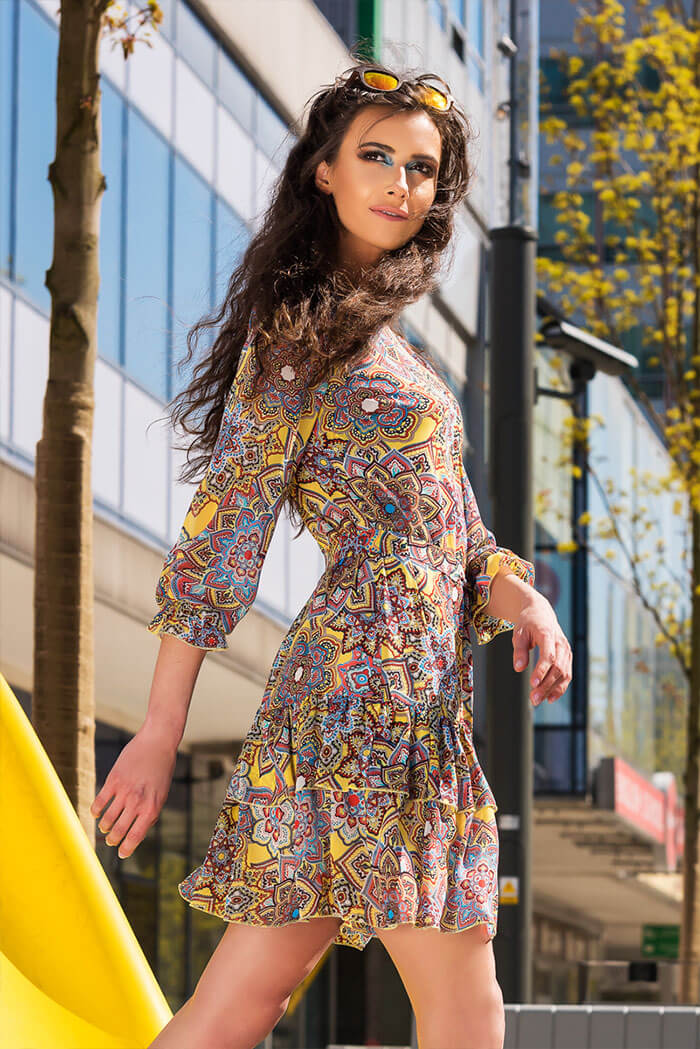 Suknia Kama- wzór rozeta, żółty