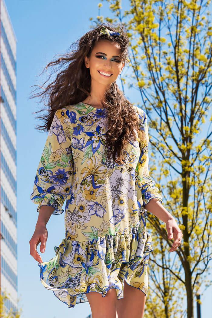 Suknia Kama- wzór kwiaty, żółty