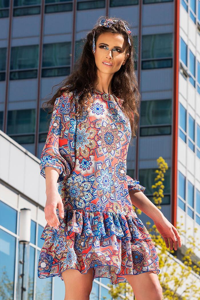 Suknia Kama- wzór rozeta, koral