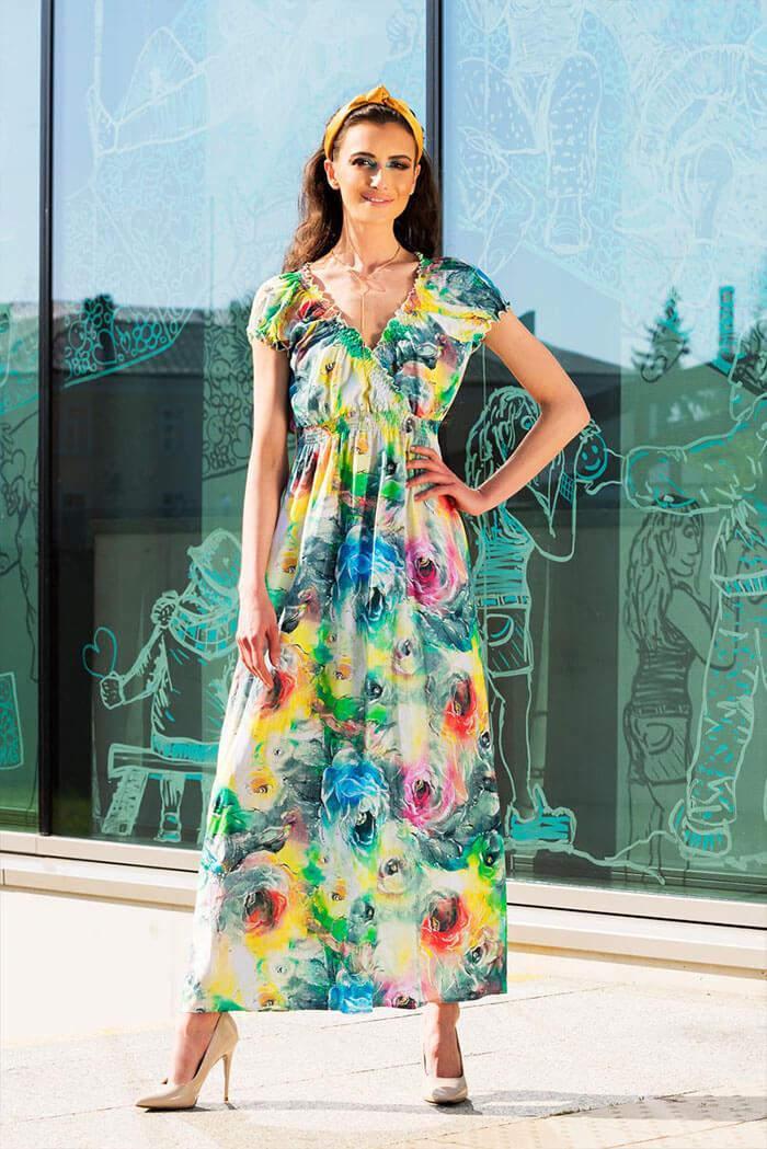 Suknia Letizia – wzór kwiaty, koral